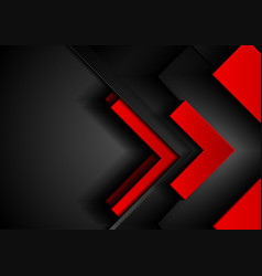 Red and black tech abstract background with arrows vector
