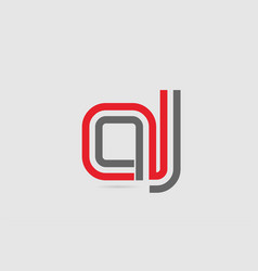 Red grey alphabet letter logo combination aj a j vector