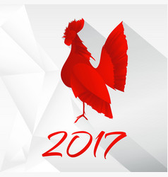 Red rooster long shadow2 vector