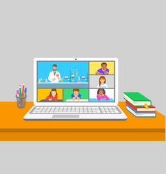Remote learning virtual chemistry zoom class kids vector
