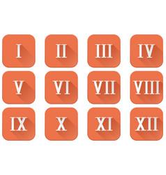 Roman numerals orange square icons vector