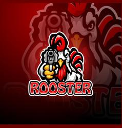 Rooster gunners mascot logo design vector