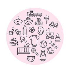 set baby icons line art signs vector image