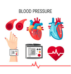 Set blood pressure icons in flat style vector
