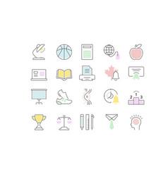 Set flat line icons school vector