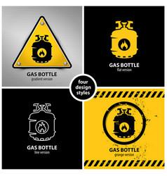 set gas bottle warning symbols vector image