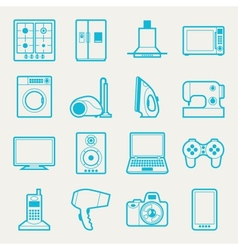 Set home appliances and electronics icons vector