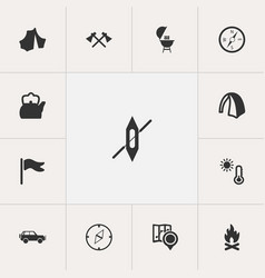 Set of 13 editable trip icons includes symbols vector