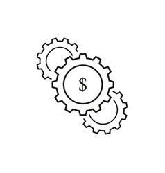 set of cogwheels dollar icons vector image