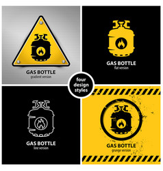 set of gas bottle warning symbols vector image