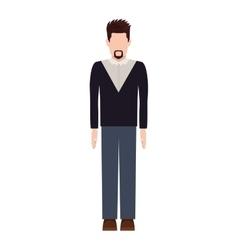 Silhouette man with van Dyke beard vector