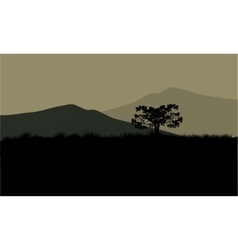 Silhouette of huge mountain vector