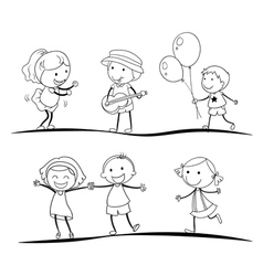 Sketches of kids vector
