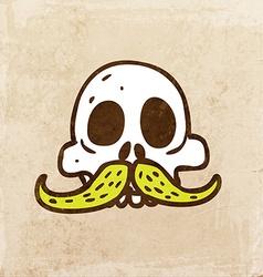 Skull with Moustache Cartoon vector