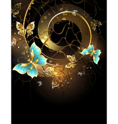 Spiral with Gold Butterflies vector