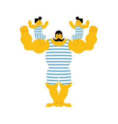 Sports strong family dynasty retro strongman and vector