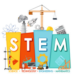 Stem education logo with icon ornament elements vector