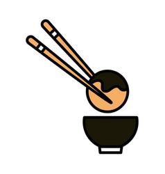 Sushi oriental menu octopus ball sticks and bowl vector