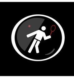 tennis sport button symbol vector image