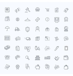 Thin lines web icons set - E-commerce shopping vector