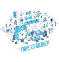 Time is money concept table alarm clock with cash vector