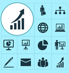 Trade icons set collection of diagram statistics vector