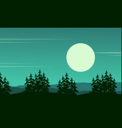 Tree on the hill scenery silhouette style vector