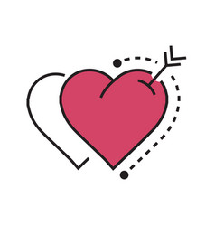 twins heart and arrow pink vector image