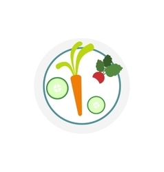 White plate with vegetables icon vector