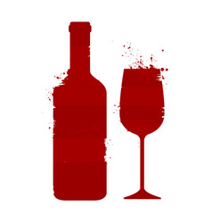 wine bottle and glass alcoholic drink abstract vector image