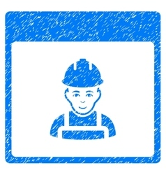 Worker Calendar Page Grainy Texture Icon vector image