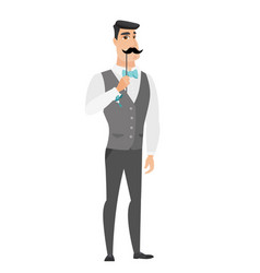 cheerful groom with a fake mustache vector image vector image