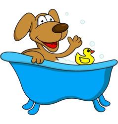 dog bathing vector image vector image