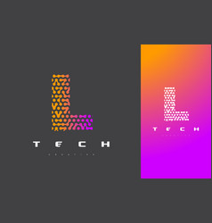 l letter logo technology connected dots letter vector image