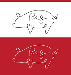 line design silhouette of pig on white background vector image