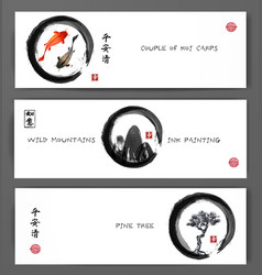 banners with koi carps mountains and pine tree in vector image