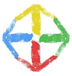 Grunge arrow four color vector