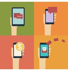 Hand holding smart mobile phone and tablet flat vector image