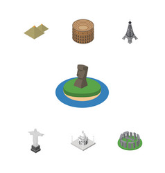 Isometric cities set of chile egypt coliseum and vector