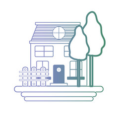line house with windows and trees with grilled vector image