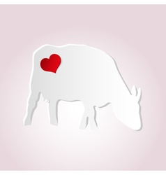 love cow from paper simple silhouette icon eps10 vector image vector image