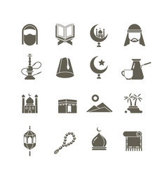 muslim islamic middle east religion icons vector image