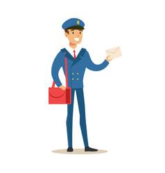 postman in blue uniform delivering mail holding a vector image vector image