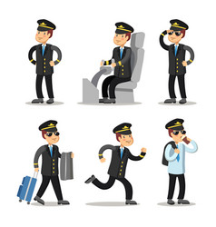 Airplane pilot cartoon character set vector