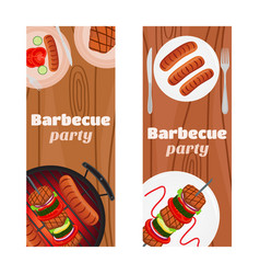 Barbecue party flyers invitation banner vector
