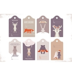 collection of 8 craft christmas gift tags with vector image vector image