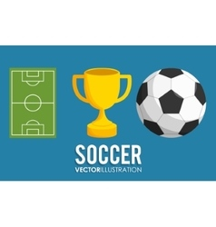 ball and trophy of soccer sport design vector image vector image
