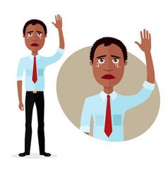 crying american business man waving hand goodbye vector image
