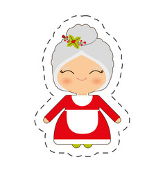 cute mrs claus christmas cut line vector image vector image