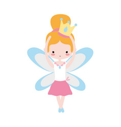 girl dancing ballet with crown and wings design vector image